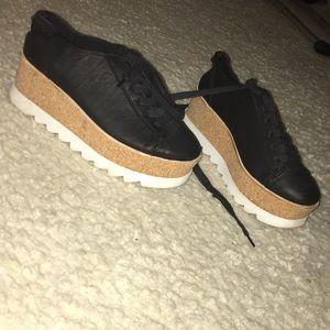 black leather steve madden platforms